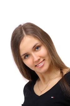 Donna d'affari sorridente. isolato su sfondo bianco