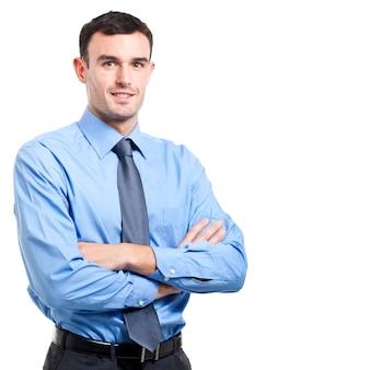 Uomo d'affari sorridente su sfondo bianco