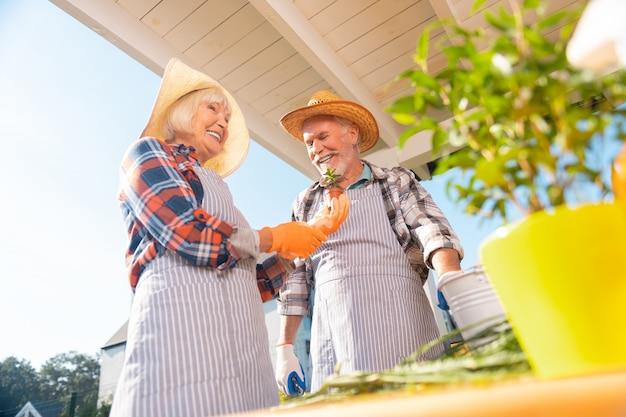 Coppia sorridente. coppia di pensionati uomo e donna che indossa bei cappelli di paglia sorridendo ampiamente mentre piantano fiori