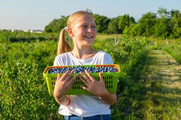 La figlia sorridente degli agricoltori raccoglie i mirtilli e tiene un cesto di frutti di bosco
