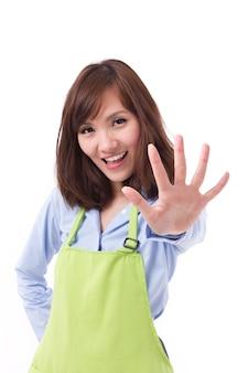Sorridendo felice proprietario del negozio di piccole imprese