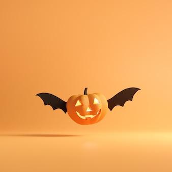 Zucca sorridente che vola su sfondo di colore arancione.