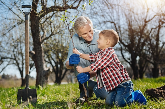Sorridente agricoltore senior in piedi su un ginocchio mentre insegna al suo grazioso nipotino come piantare alberi in un giardino di famiglia
