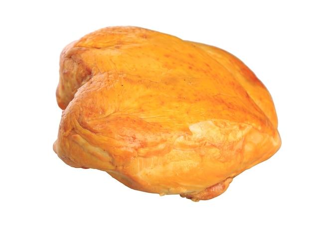 Petto di pollo affumicato su sfondo bianco