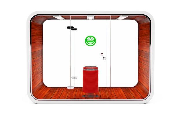 Cabina fumatori. camera speciale per fumatori. area fumatori per sigarette, tabacco, vipes e sigarette elettroniche su sfondo bianco. rendering 3d