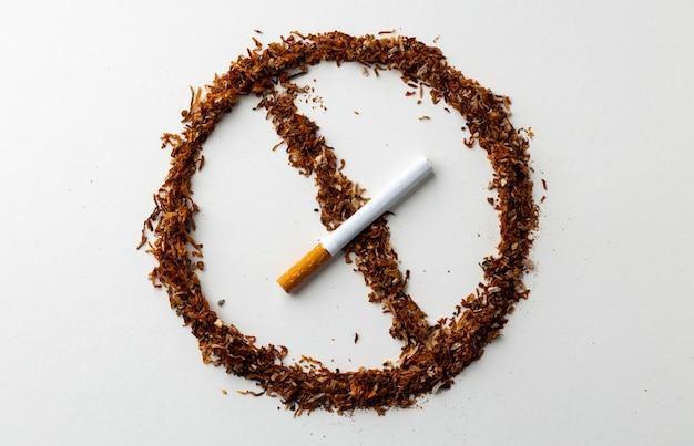 È vietato fumare banner con tabacco sparsi su bianco