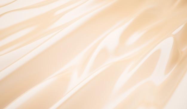 Primo piano del fondo di nozze di seta dorata elegante liscia di linee di tessuto di seta crema increspato
