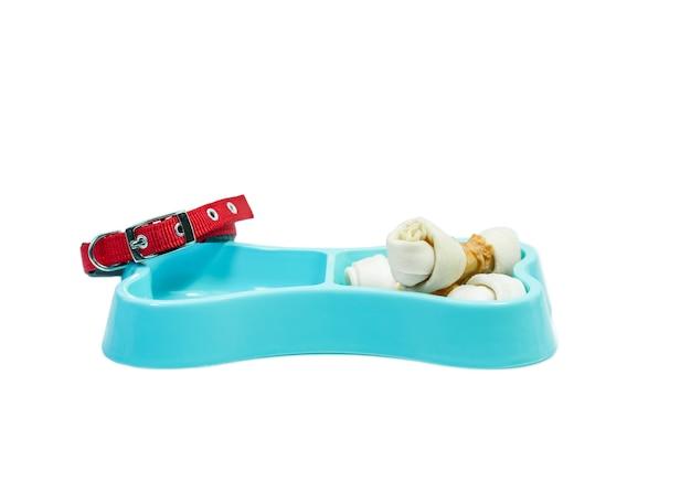 Snack in ciotola di plastica e collare per animali domestici. concetto di animali domestici