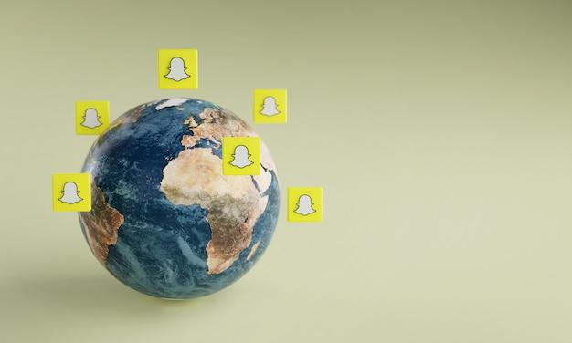 Icona del logo snapchat intorno alla terra. concetto di app popolare.