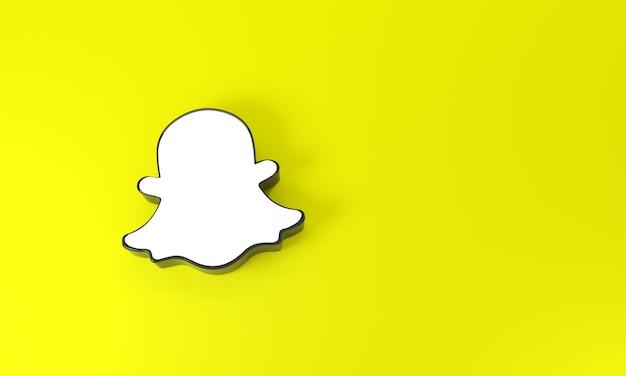 Logo snapchat con spazio per testo e grafica in vista dall'alto su sfondo giallo. rendering 3d.