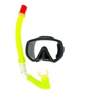 Snorkel e maschera subacquea isolato su bianco