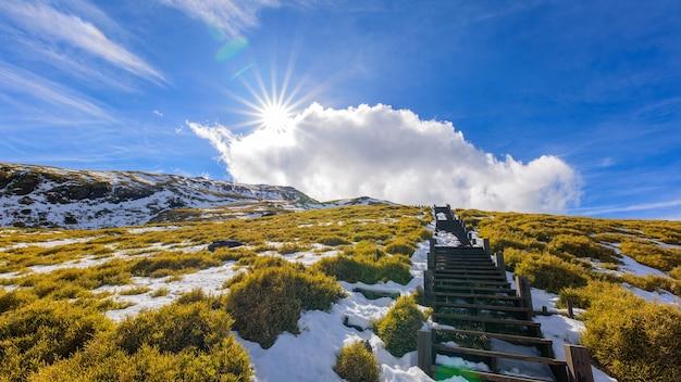 Neve, nuvole, montagne, scale e sole.