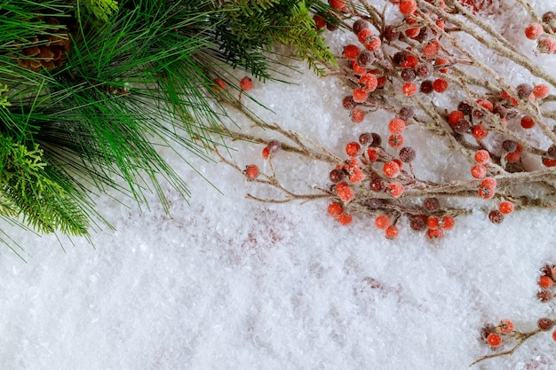 Decorazione natalizia innevata con ramo di albero