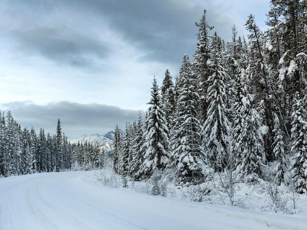 Strada innevata che porta verso la catena montuosa, il lago maligne, jasper, jasper national park, alberta