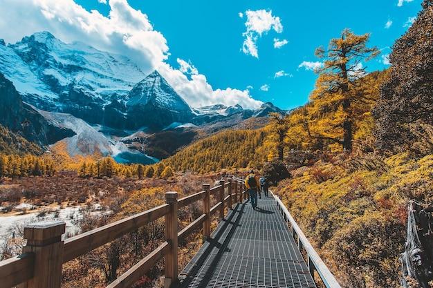 Montagna della neve in autunno nella riserva naturale di yading, sichuan, cina