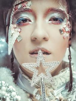 Regina delle nevi su sfondo bianco