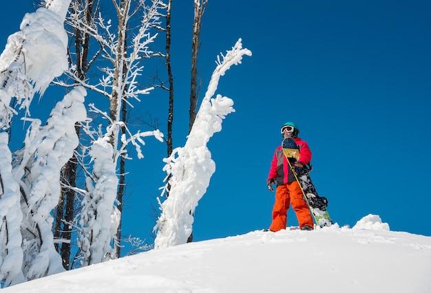 Snowboard in cima alla montagna