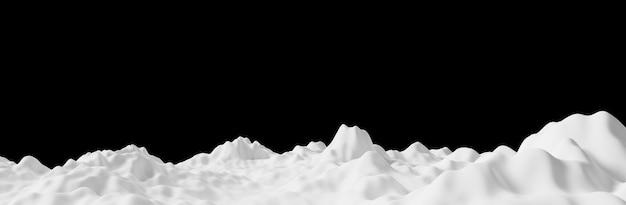 Cumulo di neve su sfondo nero rendering 3d