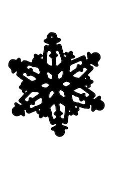 Icona del fiocco di neve la sagoma nera del segno del fiocco di neve isolato su uno sfondo bianco