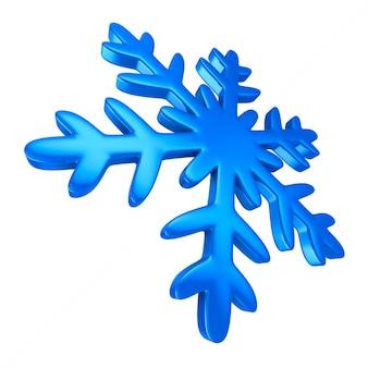 Fiocco di neve su sfondo bianco. illustrazione 3d isolata