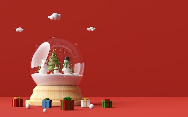 Il pupazzo di neve celebra il giorno di natale in un globo della neve e regali di natale su un fondo rosso, la rappresentazione 3d