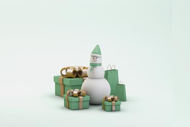 Pupazzo di neve, scatole regalo e regali di natale