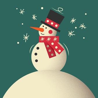 Pupazzo di neve. saluto del pupazzo di neve. simpatico biglietto di auguri di natale con pupazzo di neve. biglietto di auguri con pupazzi di neve e nevicate. contenuti natalizi.
