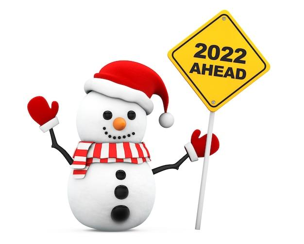Pupazzo di neve con 2022 anno nuovo avanti segno su uno sfondo bianco. rendering 3d
