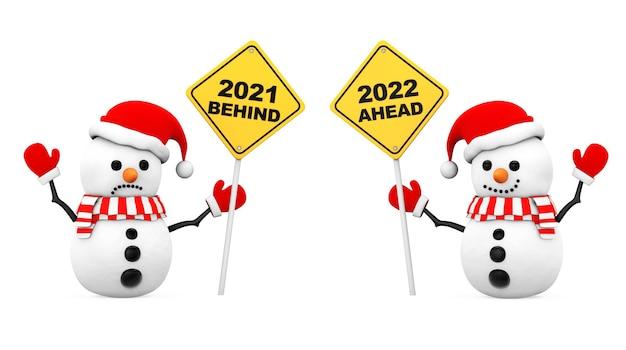 Pupazzo di neve con i segni dell'anno 2021 e 2022 su sfondo bianco. rendering 3d