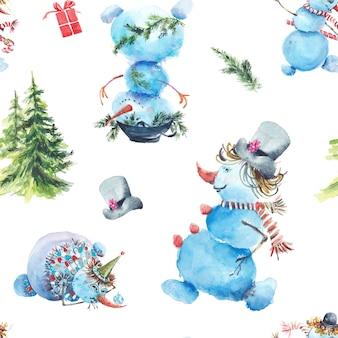 Reticolo senza giunte di inverno di pupazzi di neve. pupazzi di neve in cappelli diversi