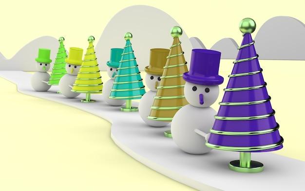 Pupazzi di neve con alberi di natale