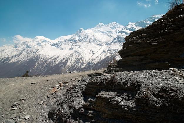 Montagne tibetane innevate, vista dall'annapurna trek