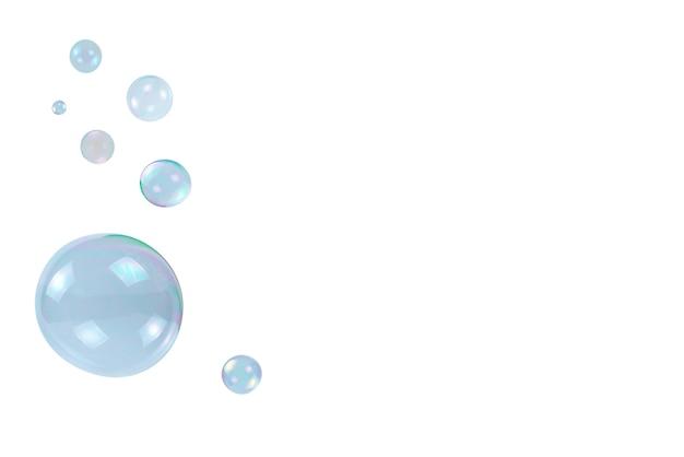 Bolle di sapone isolate su uno sfondo bianco. copia spazio.