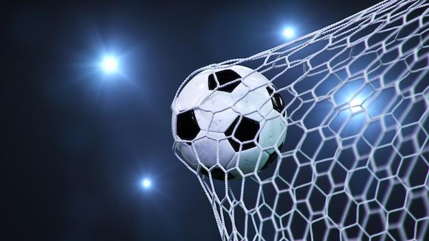 Il pallone da calcio è volato in porta.