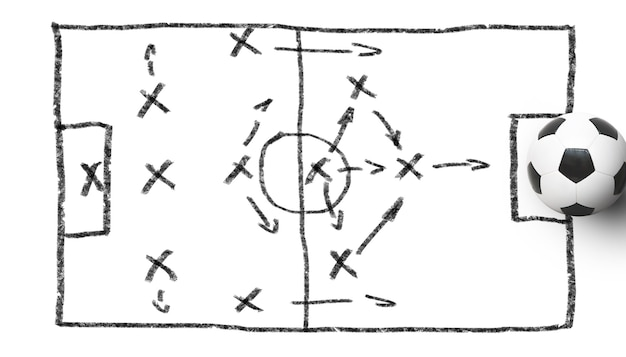 Pallone da calcio sul campo da giuoco verde. concetto di calcio