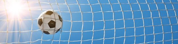 Pallone da calcio nella rete di un obiettivo. concetto di calcio