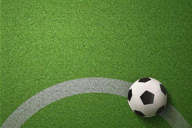 Pallone da calcio sullo sfondo del campo di calcio