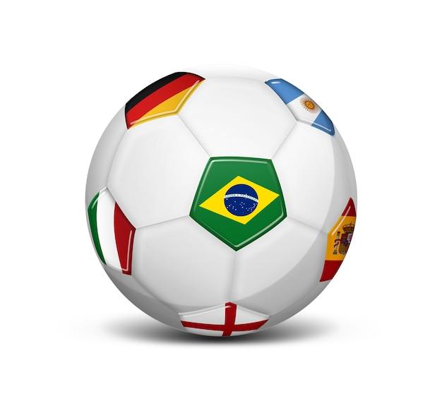 Pallone da calcio con le bandiere del brasile argentina inghilterra germania spagna e italia