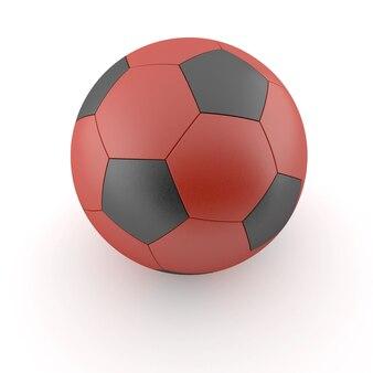 Pallone da calcio con un motivo rosso isolato