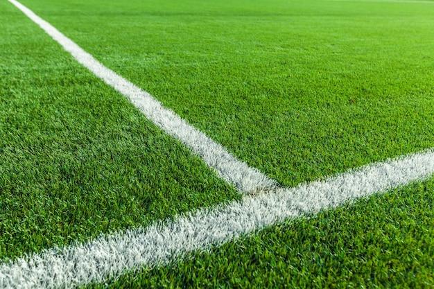 Campo da calcio, erba dello stadio, vista ravvicinata