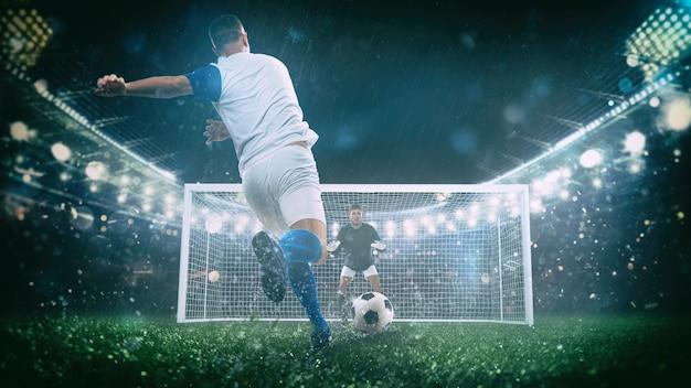 Scena di calcio durante la partita notturna con il giocatore in uniforme bianca e blu che calcia il calcio di rigore