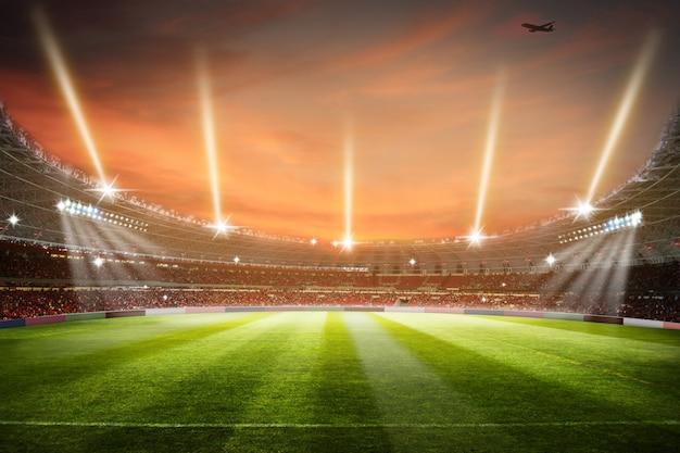 Arena del campo di football americano della rappresentazione dello stadio di calcio 3d