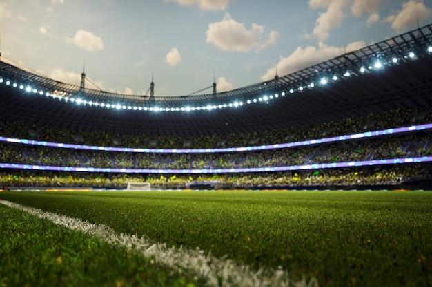 Arena di sera del fondo di defocus dello stadio di calcio con i fan della folla d illustrazione