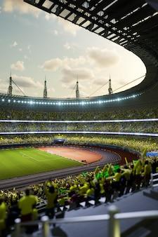 Arena di sera dello stadio di calcio con l'illustrazione 3d dei fan della folla illustrazione 3d di alta qualità
