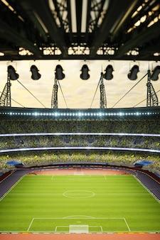 Arena di sera dello stadio di calcio con i fan della folla d illustrazione