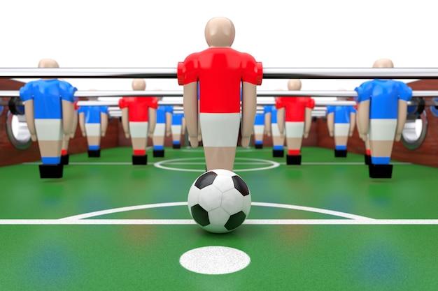 Primo piano estremo del gioco di calcio balilla di calcio. rendering 3d