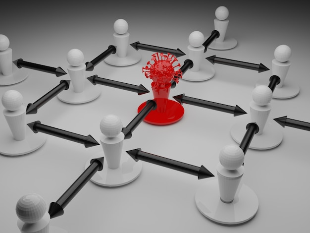 Viene illustrato il distanziamento sociale tra i pezzi causato da una molecola covid 19