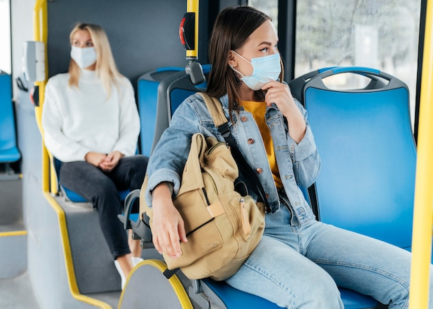 Allontanamento sociale in un trasporto pubblico