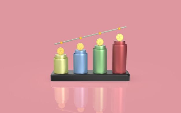 Visualizzazione di rendering 3d del concetto di grafico a barre di marketing digitale della moneta dei social media