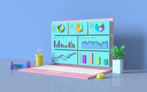 Rendering 3d del concetto di grafico a barre di marketing digitale del computer di social media